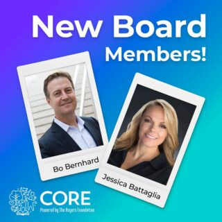 As we head into the new year, we are thrilled to introduce you to two very special members of our CORE Community: our newest Board Members, Jessica Battaglia and Bo Bernhard. Click the link in our bio to visit our blog and read more about Jessica and Bo's history with CORE. We are thrilled to have their insight, expertise, and collaboration as they join our mission of helping children to lead choice-filled lives.